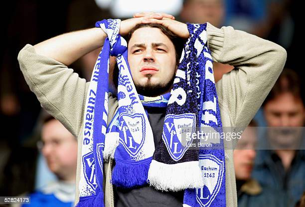 Bochum fan looks dejected after the Bundesliga match between VFL Bochum and VFB Stuttgart at the Ruhr Stadium on May 14 2005 in Bochum Germany