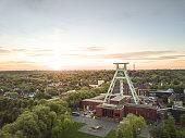 Bochum im Ruhrgebiet Panorama mit Förderturm vom Bergbaumuseum