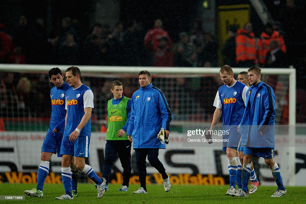 Bochum players look dejected after the Second Bundesliga match between 1. FC Koeln and VfL Bochum at RheinEnergieStadion on November 23, 2012 in Cologne, Germany.