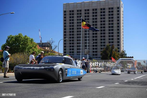 Bochum SolarCarTeam from Germany competes during a street parade for the 2017 Bridgestone World Solar Challenge down Wakefield Street in Adelaide on...