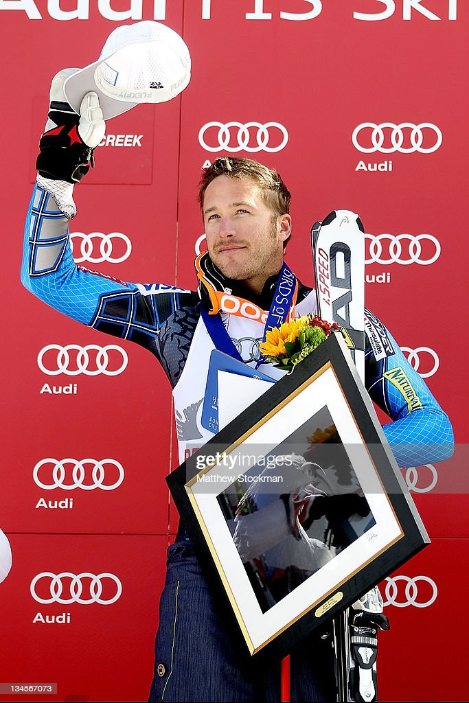 Bode Miller acknowledges the crowd from the victory podium after winning the men's downhill on the Birds of Prey at the Audi FIS World Cup on December 2, 2011 in Beaver Creek, Colorado.