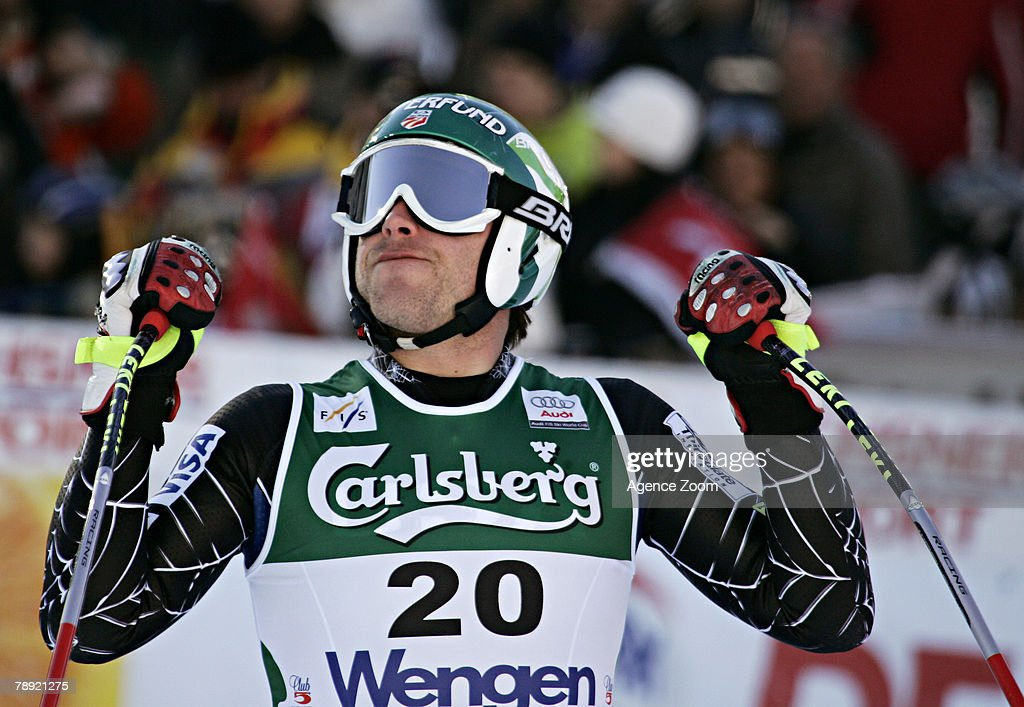 Bode Miller of the United States celebrates taking 1st place during the Alpine FIS Ski World Cup Men's Downhill on January 13, 2008 in Wengen, Switzerland.