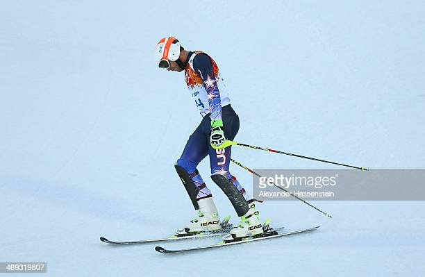 Bode Miller of the United States competes during the Alpine Skiing Men's Super Combined Downhill on day 7 of the Sochi 2014 Winter Olympics at Rosa...