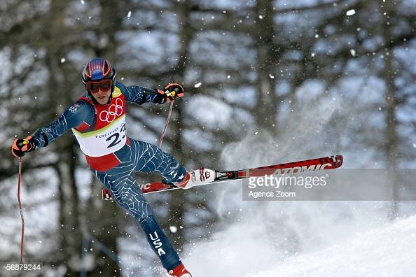 Bode Miller of the United States crashes and fails to finish in the Mens SuperG Alpine Skiing Final on Day 8 of the 2006 Turin Winter Olympic Games...