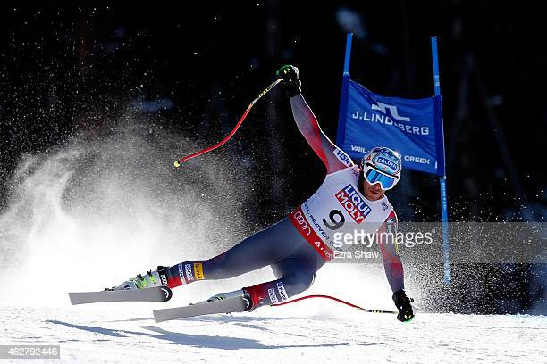 Bode Miller of the United States falls during the Men's SuperG on the Birds of Prey racecourse on Day 4 of the 2015 FIS Alpine World Ski...