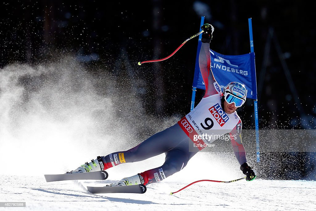 Bode Miller of the United States falls during the Men's Super-G on the Birds of Prey racecourse on Day 4 of the 2015 FIS Alpine World Ski Championships on February 5, 2015 in Beaver Creek, Colorado.