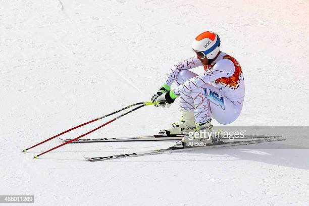 Bode Miller of the United States finishes a run during the Alpine Men's Downhill on day two of the Sochi 2014 Winter Olympics at Rosa Khutor Alpine...