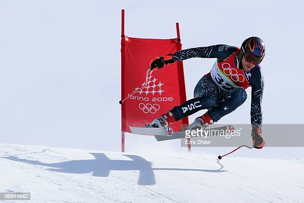 Bode Miller of the United States finishes his run in the Downhill section of the Mens Combined Alpine Skiing competition on Day 4 of the 2006 Turin...