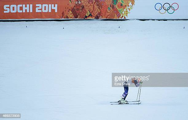 Bode Miller of the United States looks down during the Alpine Skiing Men's Super Combined Downhill on day 7 of the Sochi 2014 Winter Olympics at Rosa...