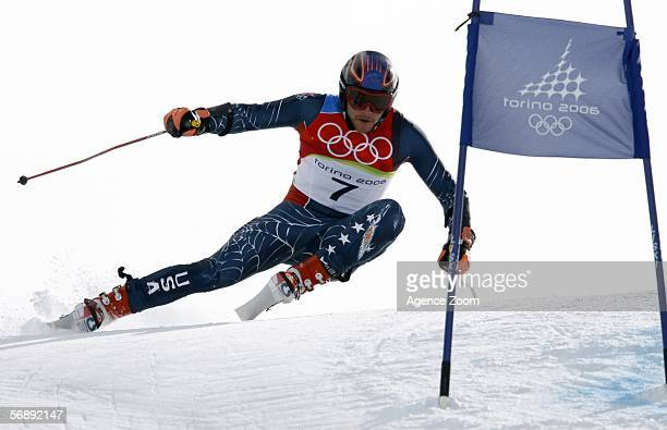 Bode Miller of the United States of America competes in the First Run of the Mens Alpine Skiing Giant Slalom competition on Day 10 of the 2006 Turin...