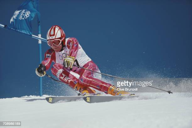 Bode Miller of the United States skiing in the Men's Giant Slalom event on 19 February 1998 during the XVIII Olympic Winter Games at Shiga Kogen...
