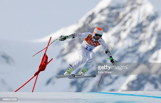 Bode Miller of the United States skis during the Alpine Skiing Men's SuperG on day 9 of the Sochi 2014 Winter Olympics at Rosa Khutor Alpine Center...