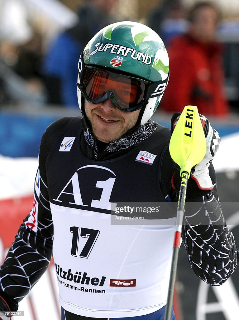 Bode Miller of the United States takes 1st place during the Alpine FIS Ski World Cup Men's Combined on January 20, 2008 in Kitzbuehel, Austria. (Photo by Agence Zoom/Getty Images