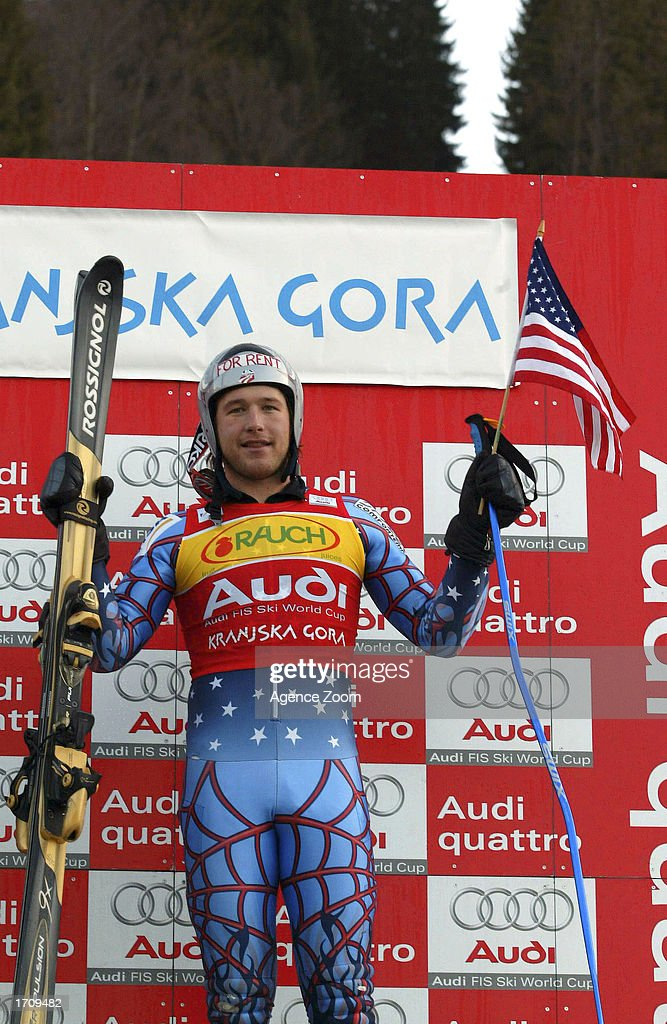 Bode Miller of the USA celebrates after winning the Men's Giant Slalom on January 4, 2003 at the FIS World Cup in Kranjska Gora, Slovenia.