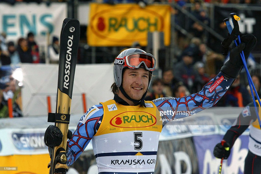 Bode Miller of the USA celebrates en route to winning the Men's Giant Slalom on January 4, 2003 at the FIS World Cup in Kranjska Gora, Slovenia.