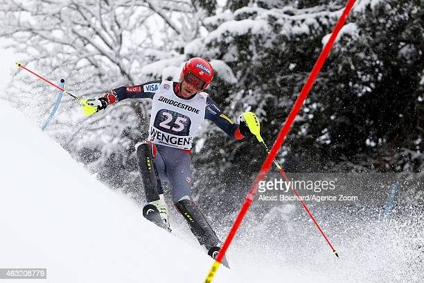 Bode Miller of the USA competes during the Audi FIS Alpine Ski World Cup Men's Super Combined on January 17 2014 in Wengen Switzerland