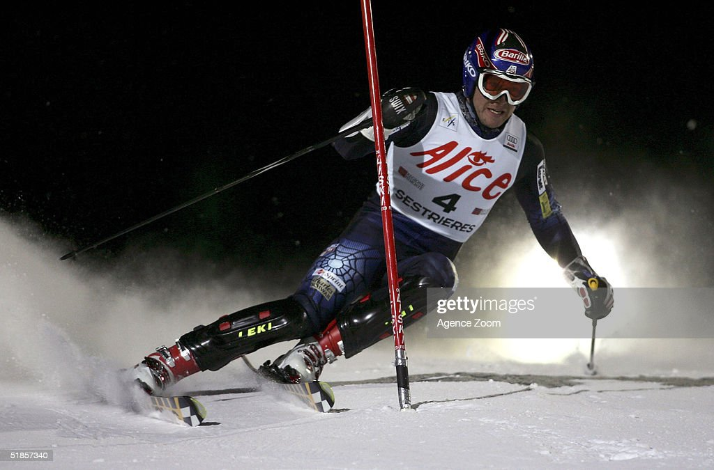 Bode Miller of the USA competes during the FIS Alpine Ski World Cup Men's Slalom Event at Sestriere Sporting Club on December 13, 2004 in Sestriere, Italy.