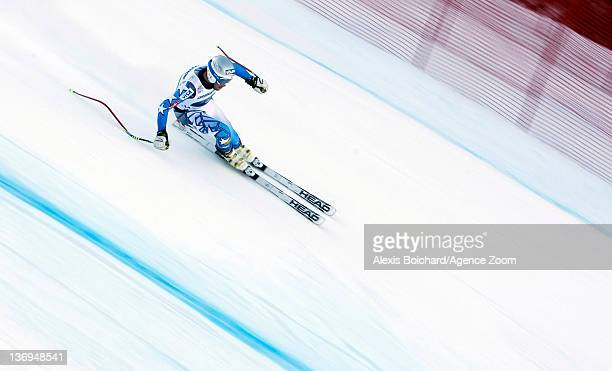 Bode Miller of the USA competes on his way to taking 3rd place during the Audi FIS Alpine Ski World Cup Men's Super Combined on January 13 2012 in...