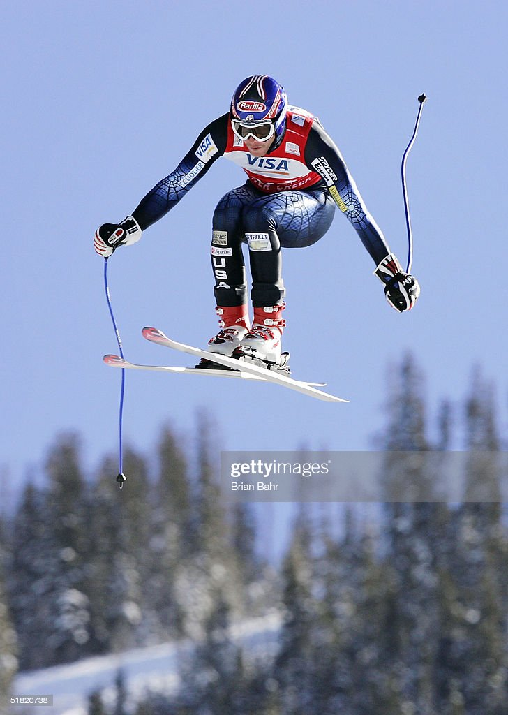 Bode Miller #17 of the USA flies to a first place finish during the mens World Cup Downhill on December 3, 2004 on the Birds of Prey course at Beaver Creek, Colorado.
