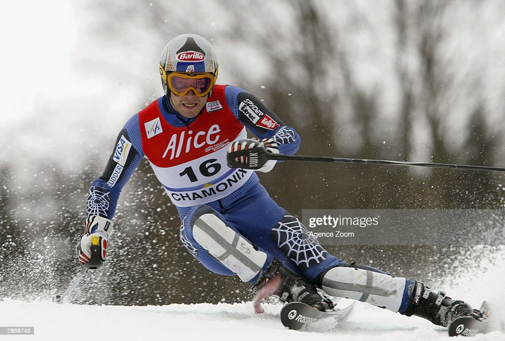 Bode Miller of the USA on his way to third place during the Men's Slalom in the FIS Alpine Ski World Cup 2004 on January 11, 2003 in Chamonix, France.
