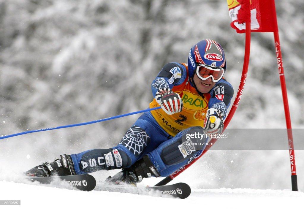 Bode Miller of the USA on his way to winning the FIS Alpine Ski World Cup Men's Giant Slalom on February 28, 2004 in Kranjska Gora, Slovenia.