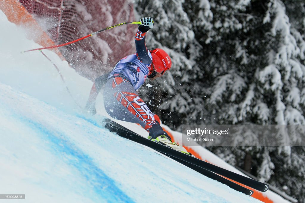 Bode Miller of The USA races down the Hahnenkamm Course during the Audi FIS Alpine Ski World Cup Downhill race on January 25 2013 in Kitzbuhel Austria