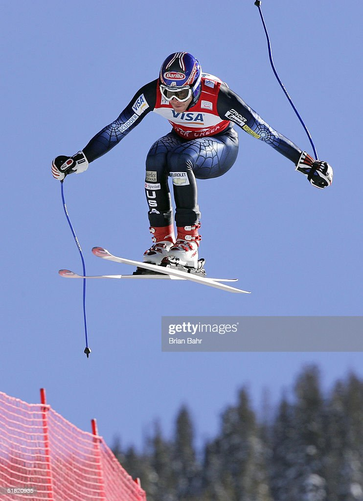 Bode Miller #17 of the USA skies to a first place finish during the mens World Cup Downhill on December 3, 2004 on the Birds of Prey course at Beaver Creek, Colorado.