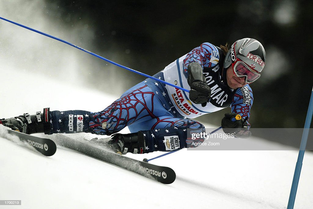 Bode Miller of the USA skis to win the FIS Alpine Ski World Cup 2002/2003, men's giant slalom on December 22, 2002 in Alta Badia, Italy.