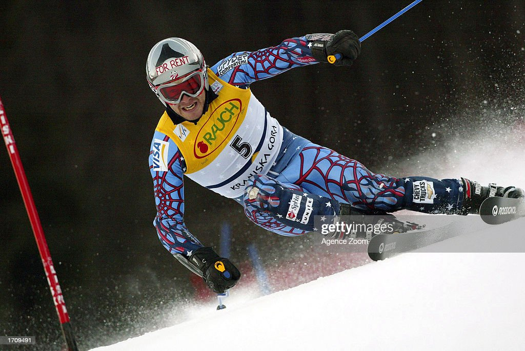 Bode Miller of the USA speeds through a turn en route to winning the Men's Giant Slalom on January 4, 2003 at the FIS World Cup in Kranjska Gora, Slovenia.