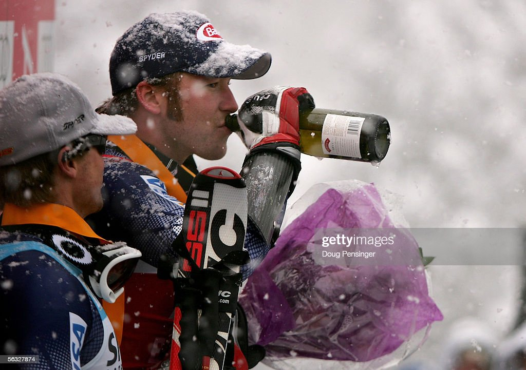 Bode Miller of the USA takes a sip of champagne on the podium after winning the FIS Alpine Skiing World Cup Men's Giant Slalom Race on December 3, 2005 on Birds of Prey at Beaver Creek in Avon, Colorado.