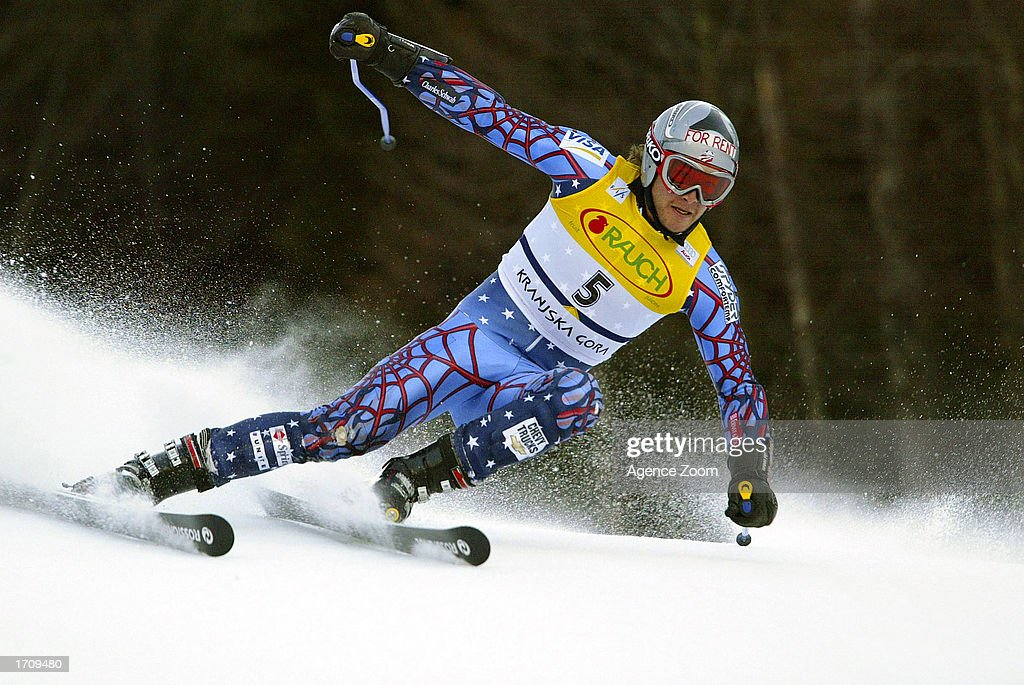 Bode Miller of the USA takes a turn en route to winning the Men's Giant Slalom on January 4, 2003 at the FIS World Cup in Kranjska Gora, Slovenia.