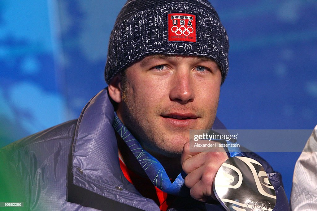 Bode Miller of United States celebrates winning the Silver medal during the medal ceremony for the men's Super-G on day 8 of the Vancouver 2010 Winter Olympics at Whistler Medals Plaza on February 19, 2010 in Whistler, Canada.