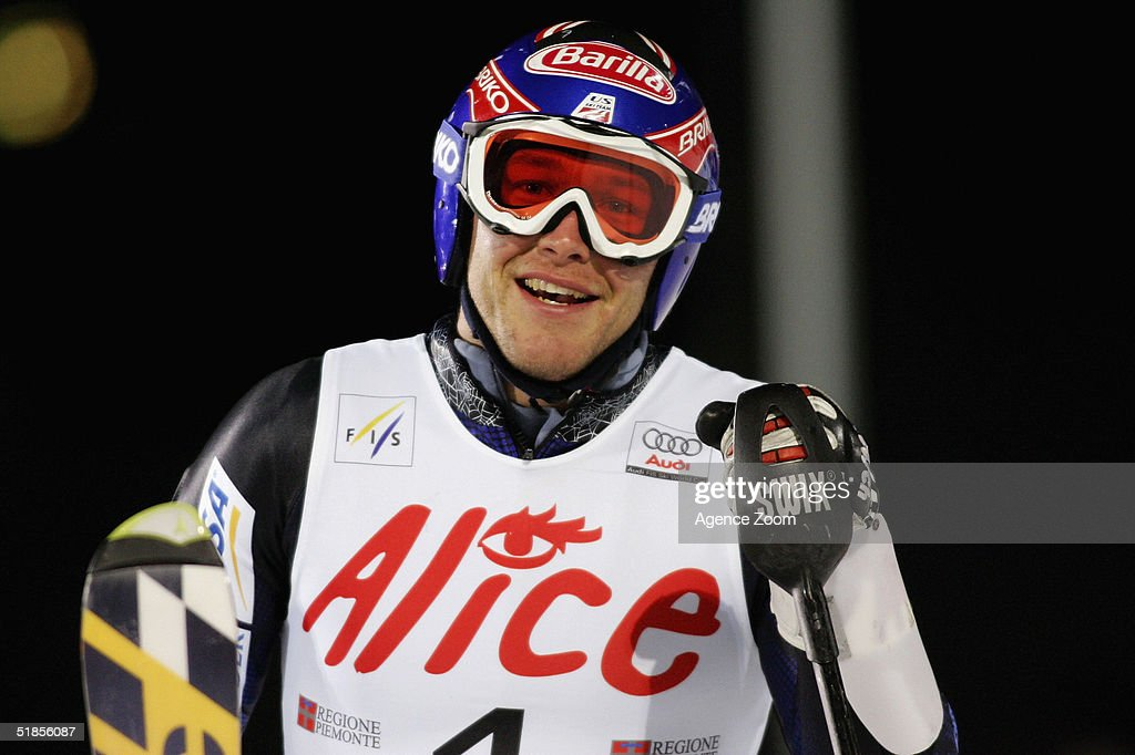 Bode Miller of USA celebrates victory during the FIS Alpine Ski World Cup Men's Slalom Event at Sestriere Sporting Club on December 13, 2004 in Sestriere, Italy.