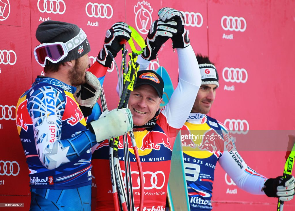<a gi-track='captionPersonalityLinkClicked' href=/galleries/search?phrase=Bode+Miller&family=editorial&specificpeople=194742 ng-click='$event.stopPropagation()'>Bode Miller</a> of USA (2nd place), <a gi-track='captionPersonalityLinkClicked' href=/galleries/search?phrase=Didier+Cuche&family=editorial&specificpeople=238957 ng-click='$event.stopPropagation()'>Didier Cuche</a> of Switzerland (1st place) and <a gi-track='captionPersonalityLinkClicked' href=/galleries/search?phrase=Adrien+Theaux&family=editorial&specificpeople=2138351 ng-click='$event.stopPropagation()'>Adrien Theaux</a> of France (3rd place) pose on the podium after winning the Hahnenkamm race on January 22, 2011 in Kitzbuehel, Austria.