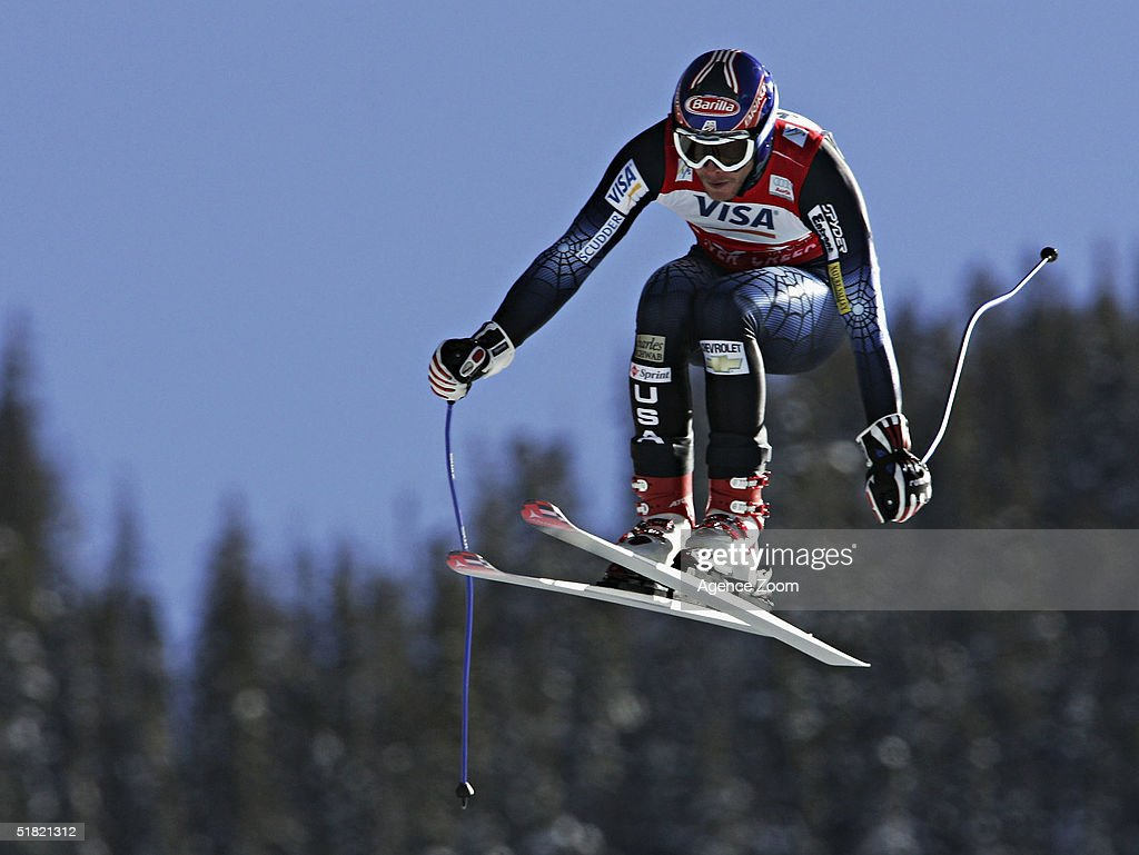 Bode Miller of USA in action during the men's downhill event in the FIS Ski World Cup with second placed Daron Rahlves on December 3, 2004 in Beaver Creek, Colorado.
