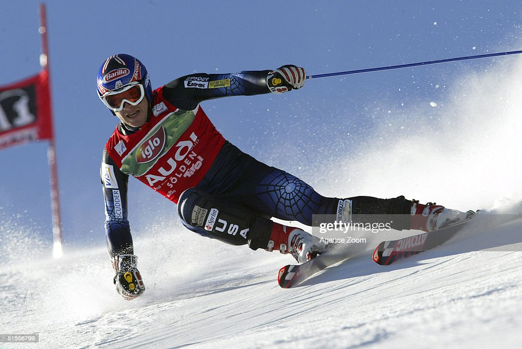 Bode Miller of USA skis during the Men's Giant Slalom at the FIS Alpine Ski World Cup on October 24, 2004 in Soelden, Austria. Miller finished in first place.