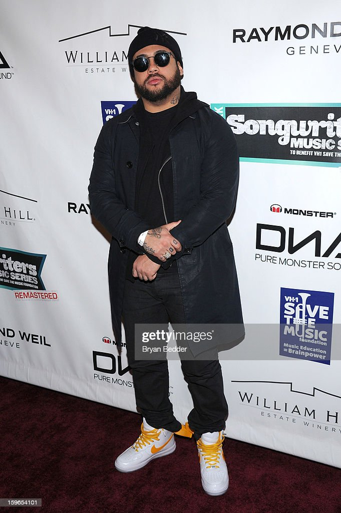 Bodega Bamz attends VH1 Save The Music Foundation's Songwriters Music Series Remix featuring Swizz Beatz & Friends, presented by Monster DNA Headphones & William Hill Estate Winery at Hard Rock Cafe New York on January 17, 2013 in New York City.