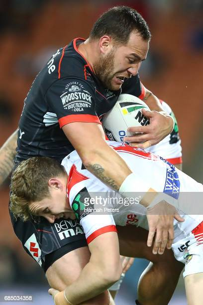 Bodene Thompson of the Warriors charges forward during the round 11 NRL match between the New Zealand Warriors and the St George Illawarra Dragons at...