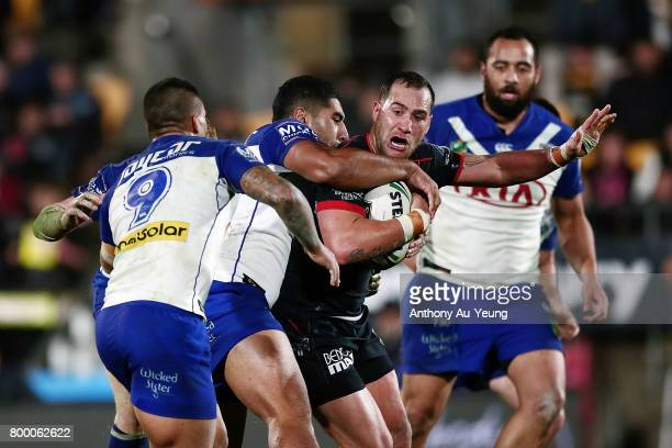 Bodene Thompson of the Warriors charges on during the round 16 NRL match between the New Zealand Warriors and the Canterbury Bulldogs at Mt Smart...