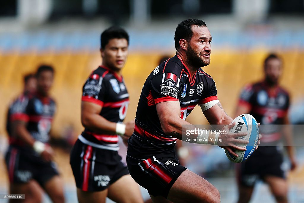 Bodene Thompson of the Warriors in action during the round nine NSW Intrust Super Cup Premiership match between the New Zealand Warriors and the Canterbury Bankstown Bulldogs at Mt Smart Stadium on May 1, 2016 in Auckland, New Zealand.