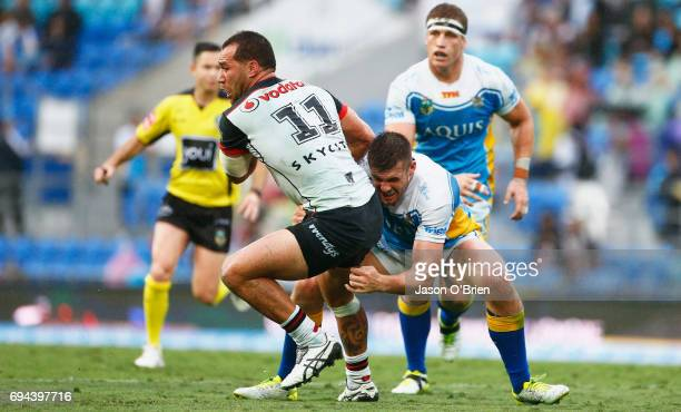 Bodene Thompson of the warriors in actrion during the round 14 NRL match between the Gold Coast Titans and the New Zealand Warriors at Cbus Super...