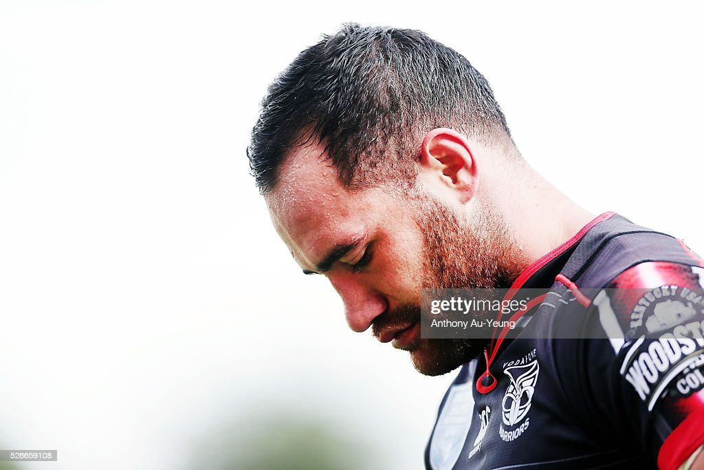 Bodene Thompson of the Warriors looks on during the round nine NSW Intrust Super Cup Premiership match between the New Zealand Warriors and the Canterbury Bankstown Bulldogs at Mt Smart Stadium on May 1, 2016 in Auckland, New Zealand.