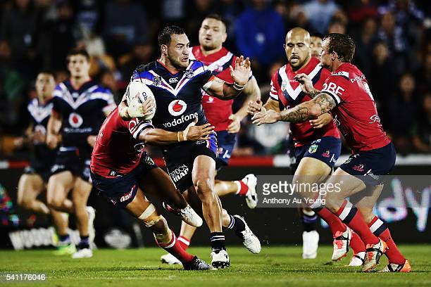 Bodene Thompson of the Warriors makes a break during the round 15 NRL match between the New Zealand Warriors and the Sydney Roosters at Mt Smart...