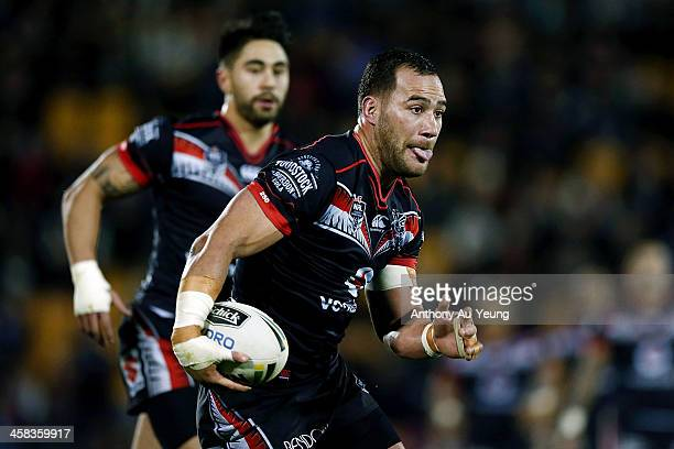 Bodene Thompson of the Warriors makes a run during the round 17 NRL match between the New Zealand Warriors and the Gold Coast Titans at Mt Smart...