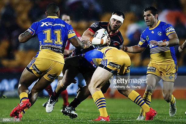 Bodene Thompson of the Warriors on the charge during the round 26 NRL match between the New Zealand Warriors and the Parramatta Eels at Mt Smart...