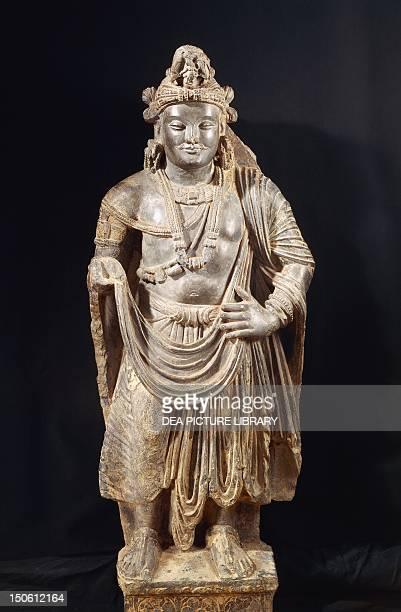 Bodhisattva grey shale Greekstyle Buddhist statue from the Peshawar Region Pakistan height 110 cm Gandhara Civilisation 4th Century