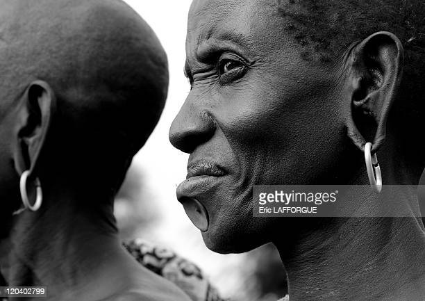 Bodi old woman in Ethiopia on October 25 2008 The Me'en or Bodi people live around Omo River in south Ethiopia Originally they were pastoralists but...