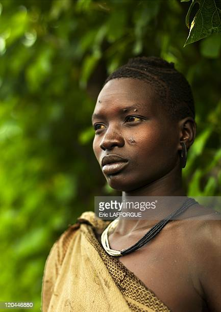 Bodi tribe woman in Ethiopia on October 25 2008 The Me'en or Bodi people live around Omo river in south Ethiopia Originally they were pastoralists...