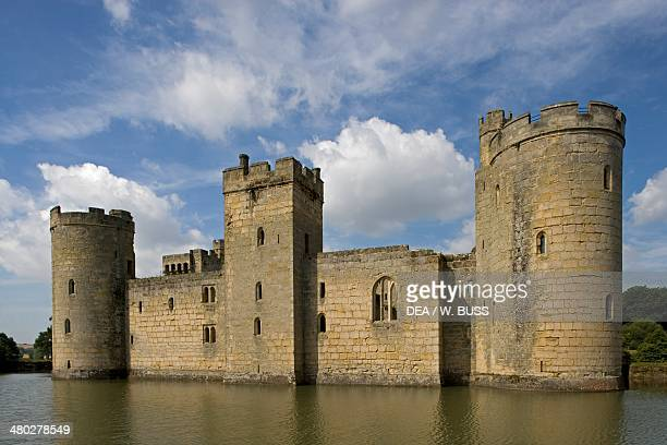 Bodiam castle built in 1385 a perfect example of a late medieval quadrangular castle surrounded by a moat East Sussex United Kingdom