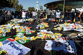 Bodies are covered after an explosion during a peace march in Ankara October 10 2015 in Ankara Turkey At least 30 people have been killed and 130...